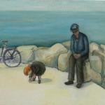 Nonno e nipote - olio, carboncino - 60x70