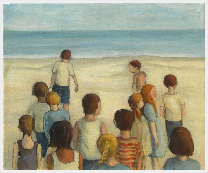 Bambini al mare (cosa accade?) - olio, carboncino - 50x60cm