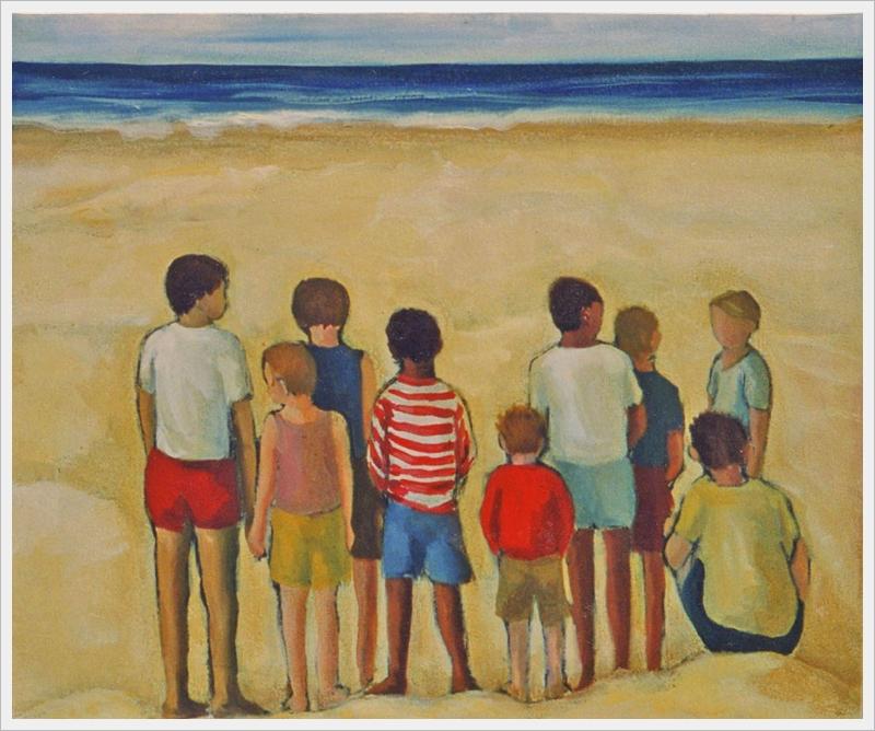 Gruppo di bambini sulla spiaggia - olio, carboncino - 60x50cm