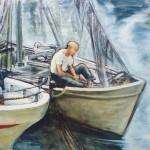 Sulla barca - olio, carboncino - 50x70