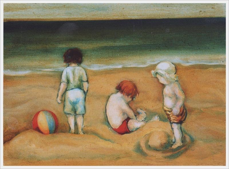 Bambini al mare - olio, carboncino - 30x40cm