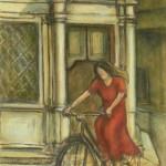 In bicicletta al tempietto - olio, carboncino - 40x60