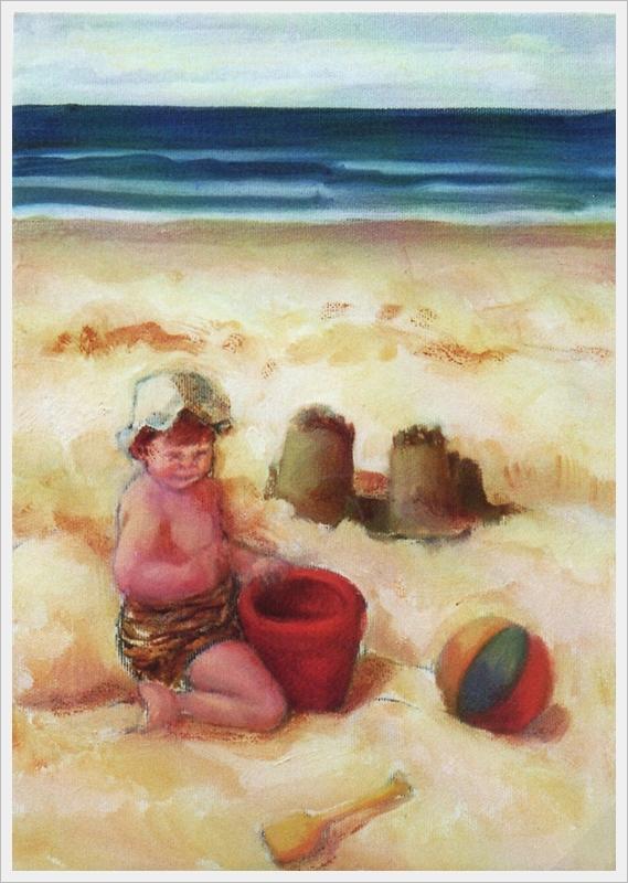Bimba con secchiello rosso - olio - 25x35cm