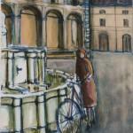In bicicletta alla fontana - olio, carboncino - 50x70