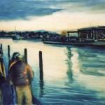 Al porto, di sera - olio, carboncino - 60x90