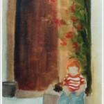 Bimba seduta, vicino al roseto - olio - 24x30 cm