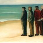 Gli uomini del borgo contemplano il mare - olio - 50x40
