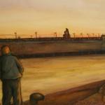 Attesa al porto (nuova darsena) - olio, carboncino - 60x100