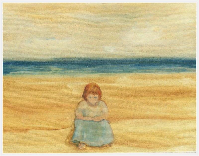 Bambina sulla spiaggia - olio - 30x40cm