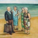 Personaggi sulla spiaggia - olio, carboncino - 50x35