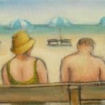 Turisti in spiaggia - olio, carboncino - 30x20