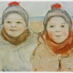 Bambini belli - olio, carboncino - 30x40cm