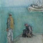 A pesca - olio, carboncino - 18x24