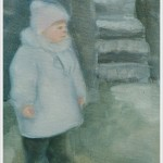Bimba col cappottino - olio - 18x24cm