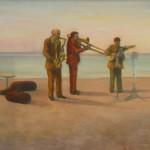 Musicanti sulla spiaggia - olio, carboncino - 60x70