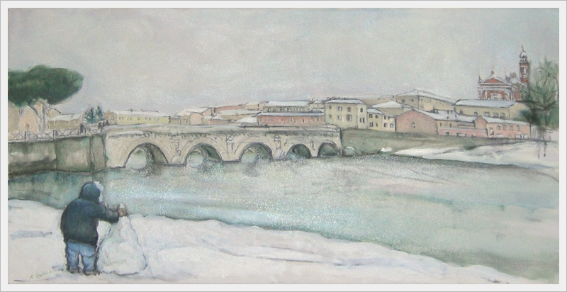 Nevicata al ponte - olio, carboncino - 50x100cm
