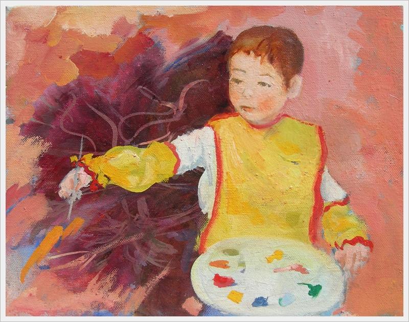 Bimbo pittore - olio - 24x30cm