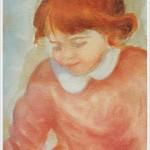 Bimba con maglioncino rosa - olio - 18x24cm