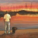 Solo, al tramonto - olio, carboncino - 40x60